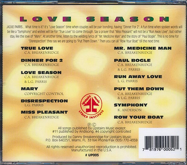 Jackie Parris - Love Season