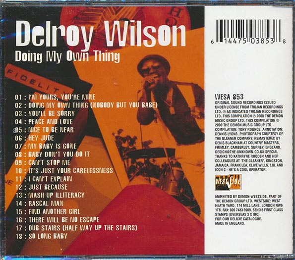Delroy Wilson - Doing My Own Thing: Hard To Find Hitpicks 1971-1975