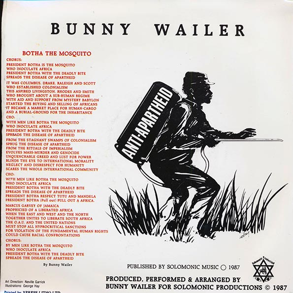 Bunny Wailer - Botha The Mosquito  /  Version (PICTURE SLEEVE)