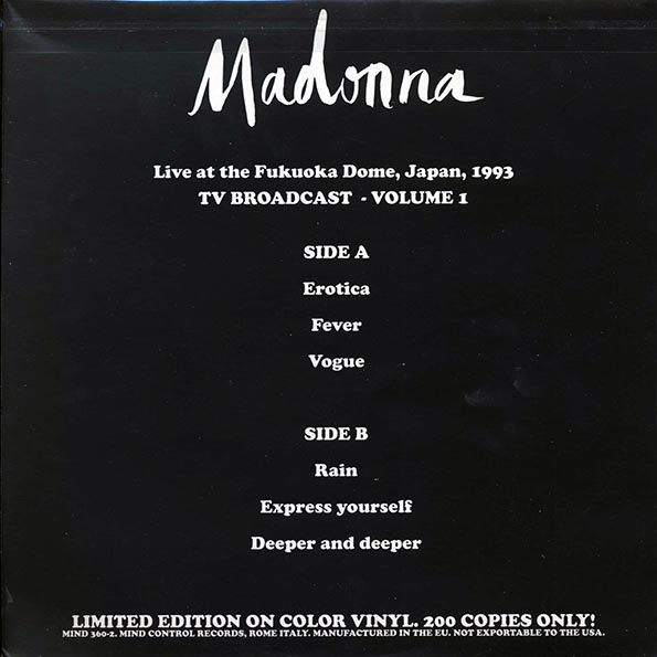 Madonna - Live At The Fukuoka Dome, Japan, 1003 TV Broadcast Volume 1