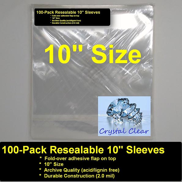Record Bags - Pack of 100 Polypropylene Crystal Clear 10' Bags With Resealable Flap